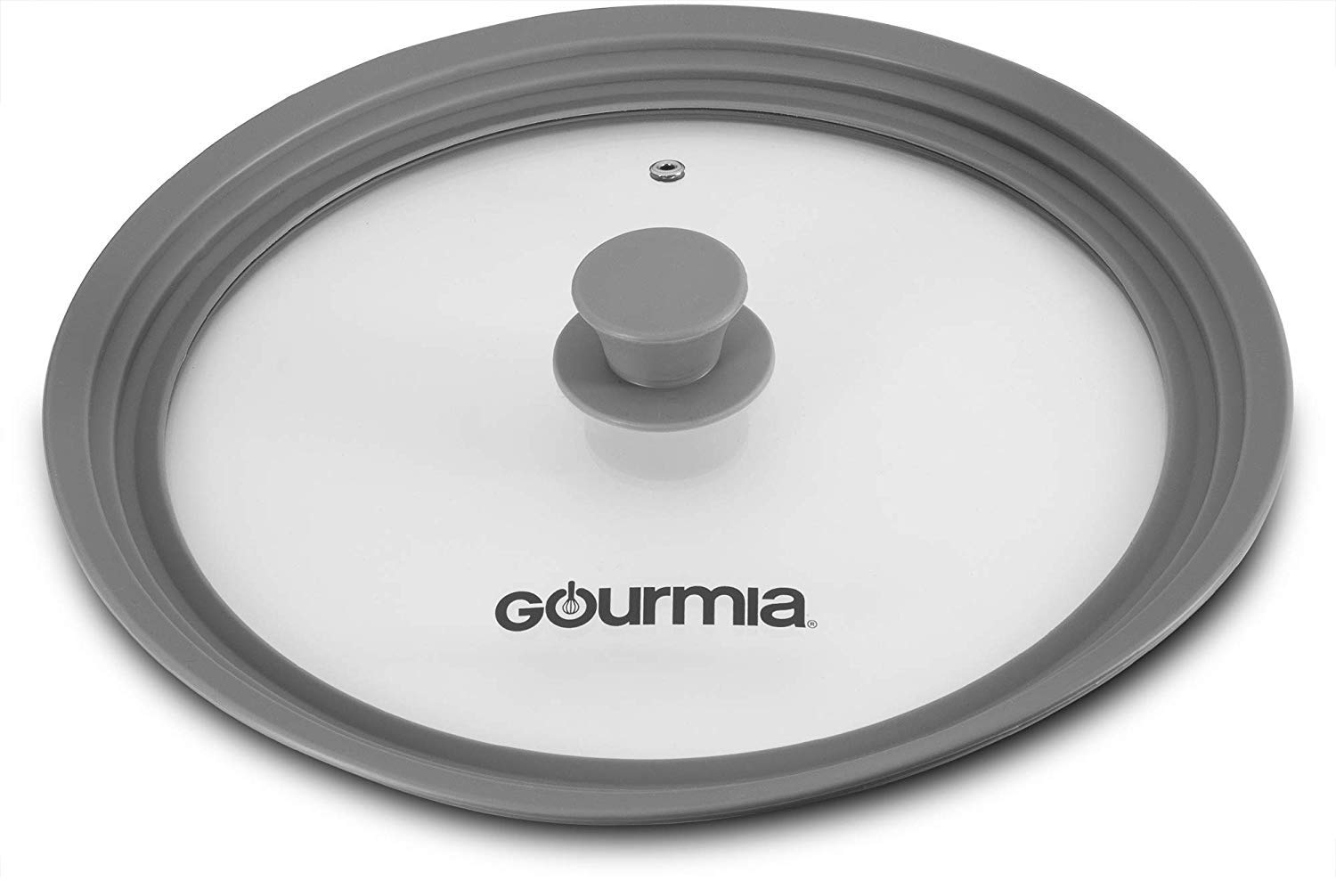 """Gourmia GPL9370 Universal Lid for Pots, Pans and Skillets – Tempered Glass with Extendable Silicone Rim - Fits 10.5"""" to 12.8"""" Cookware – Steam Vent, Dishwasher Safe, Cool Touch Handle"""