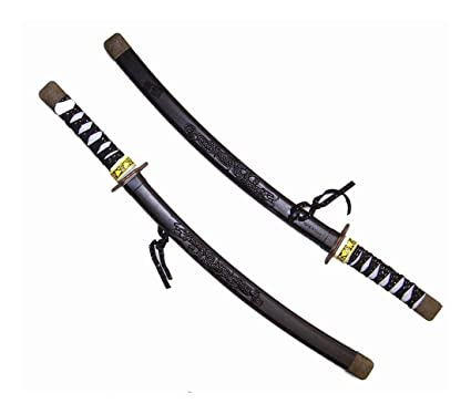 Amazon.com: 2 BLACK PLASTIC DRAGON NINJA SWORDS play toy ...