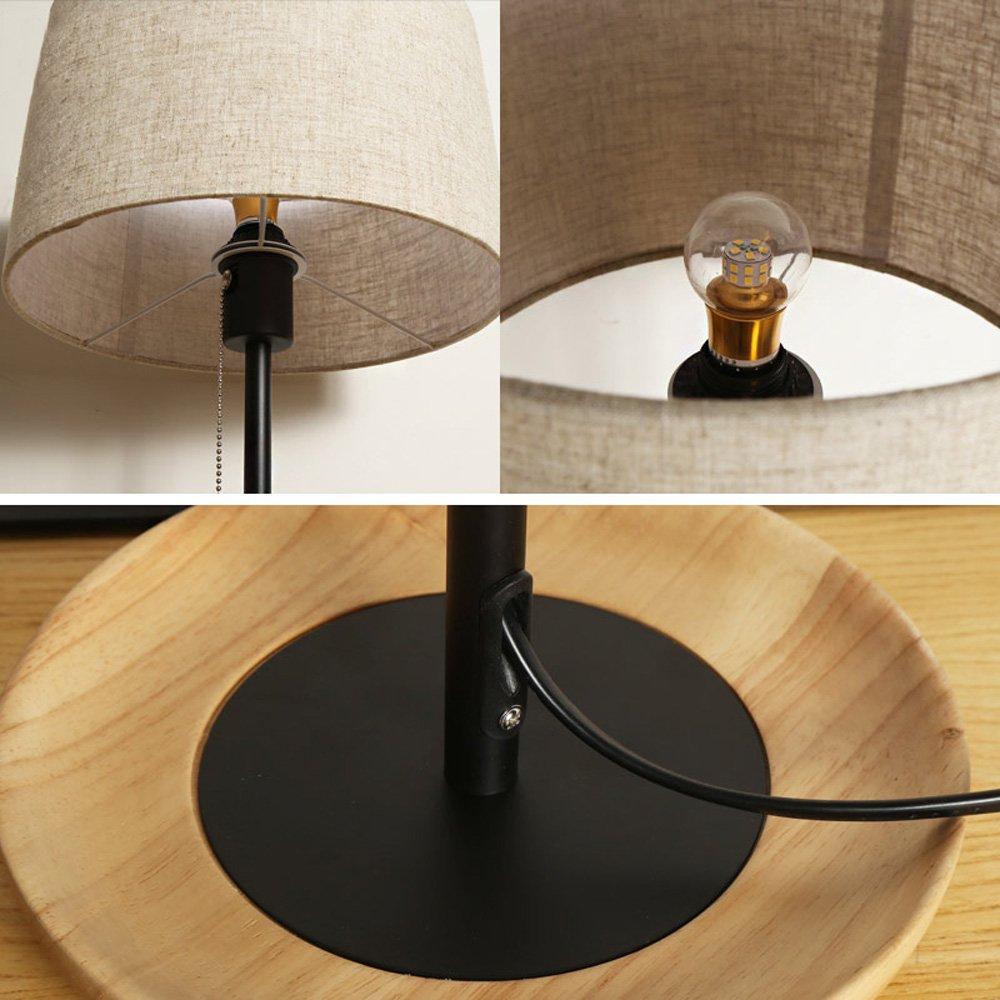 Wooden Table Lamp Nordic Simple Creative Student Children Desk Desk Lamp Bedroom LED Bedside Lamp Decorative Set Energy Saving Desk Lamp by Lizichun (Image #5)