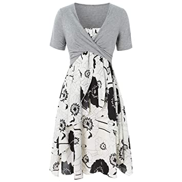 bbd969c0 Womens Floral Print Midi Dresses Short Sleeve Bow Knot Front Bandage Suit  Summer Casual Cardigan Tops
