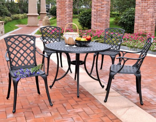 (Crosley Furniture KOD6004BK Sedona 5-Piece Solid-Cast Aluminum Outdoor Dining Set with 42-inch Table and 4 High-Back Arm Chairs, Black)