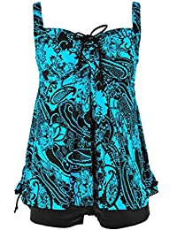 Women's Retro Plus Size Floral Pin Up Ruched Tankini Two-Piece Bathing Swimsuit