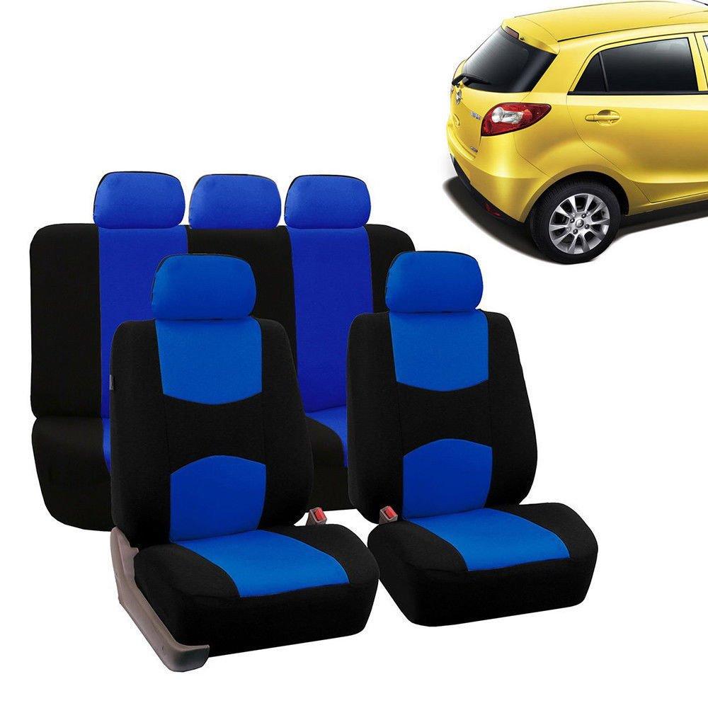 Car Seat Covers ,9Pcs Full Set for Auto w/Steering Wheel/Belt Pad/5Head Rest (Blue)