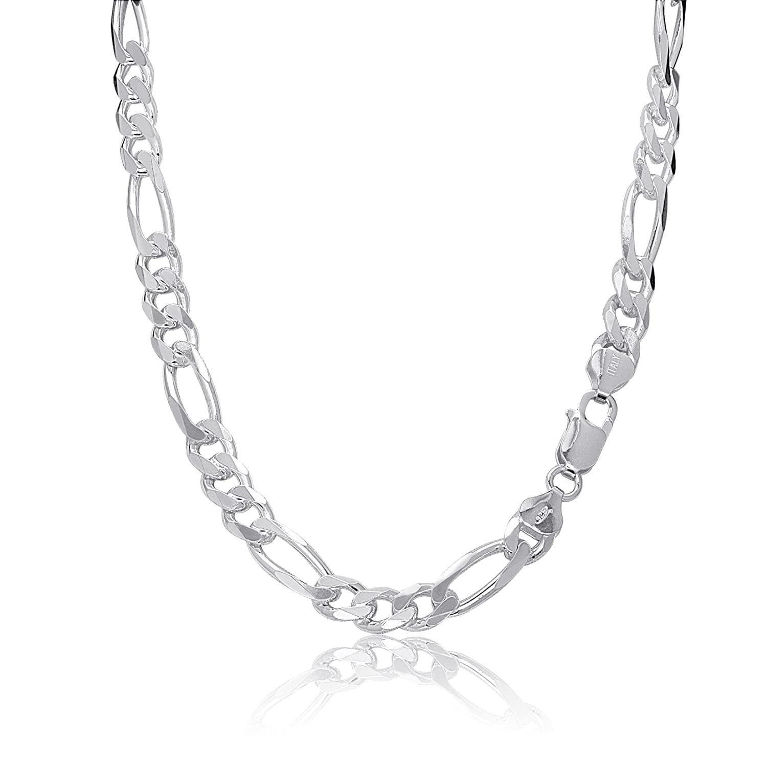 KEZEF Creations Sterling Silver Figaro Chain Necklace or Bracelet 7mm Italy