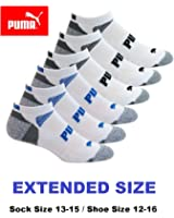 Puma Men's Extended Size Low Cut, No Show Socks 6-Pair 10-13