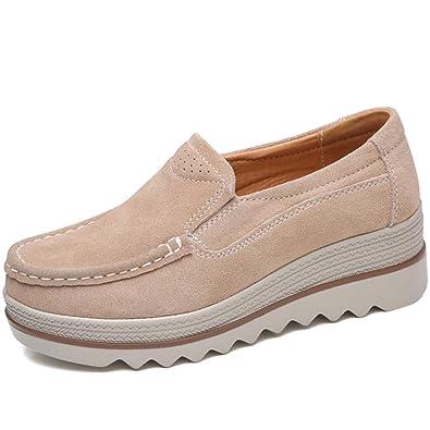 0e13e54736119 ZYEN Women Platform Slip On Loafers Comfort Suede Wedge Sneakers Fashion  Work Walking Shoes (5.5