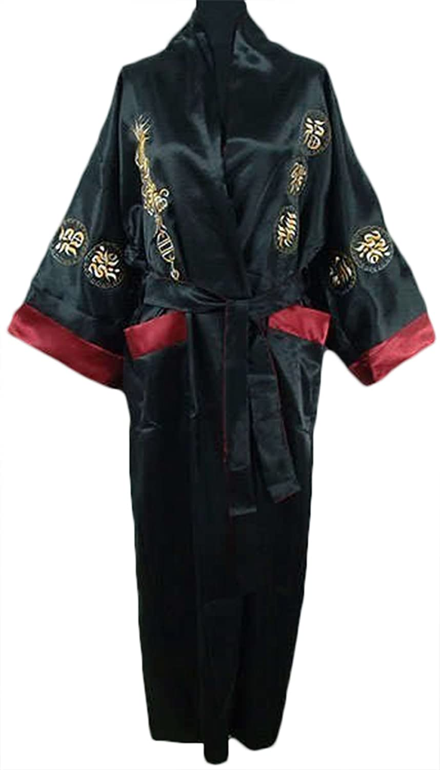 CK sky Womens Reversible Two-face pijamas Satin Embroidery Bath Gown Dragon Robe Burgundy Black at Amazon Womens Clothing store: