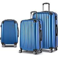Wanderlite Carry On Luggage 3 Prices Luggage Set Lightweight Suitcase Travel Hard Case-Blue