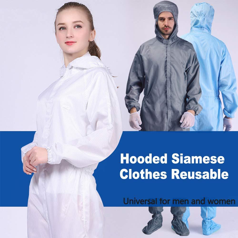 antibacterias a prueba de polvo Mono protector reutilizable protecci/ón de pintura en aerosol para el cuerpo de trabajo con capucha azul L