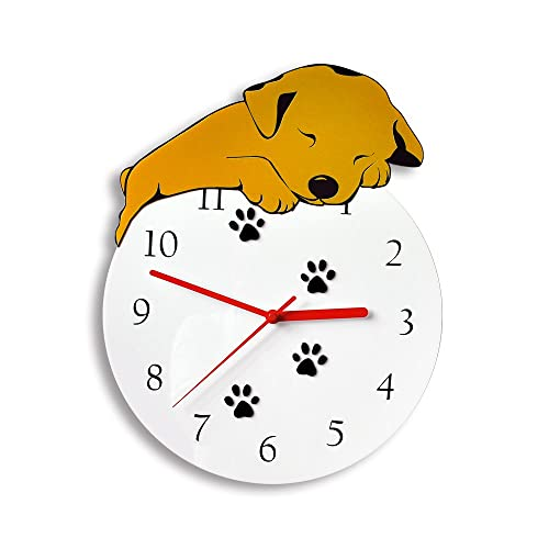 kolymax 3D Cute Wall Clock Non-Ticking Silent Kids Room Decorative Clock with Unique Lovely Cartoon Shape – Puppy Dog 12inch White Golden