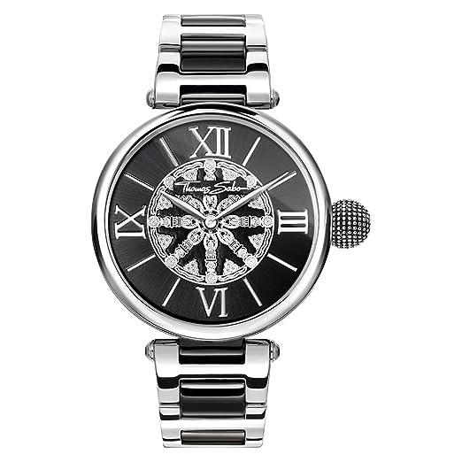 Thomas Sabo Mujer-Reloj para señora Karma negro plata Análogo Cuarzo WA0298-290-203-38 mm: Amazon.es: Relojes