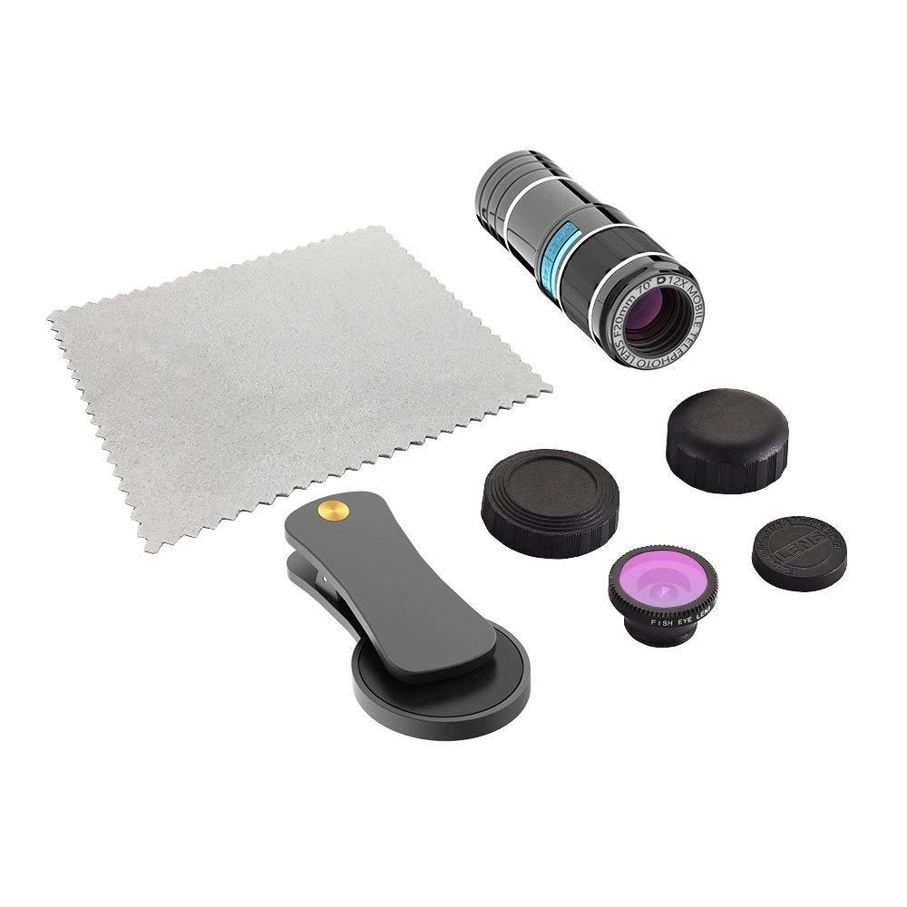 Clip-On Lenses for iPhone 8 7 6s 6 Plus Samsung Smartphones /& Tablet for iPhone Camera Lens 12x Telephoto Lens 0.65x Wide Angle /& Macro Lenses Star Filter Lens 180/° Fisheye Lens