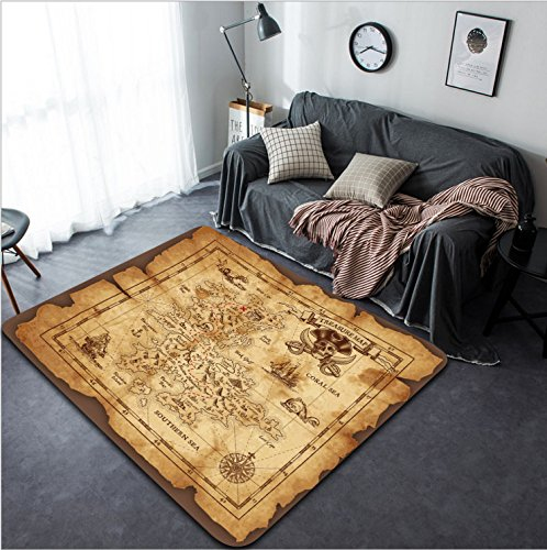 Vanfan Design Home Decorative Vector super detailed Pirate Treasure map on a ruined old Parchment All elements are organized with layers Modern Non-Slip Doormats Carpet for Living Dining R