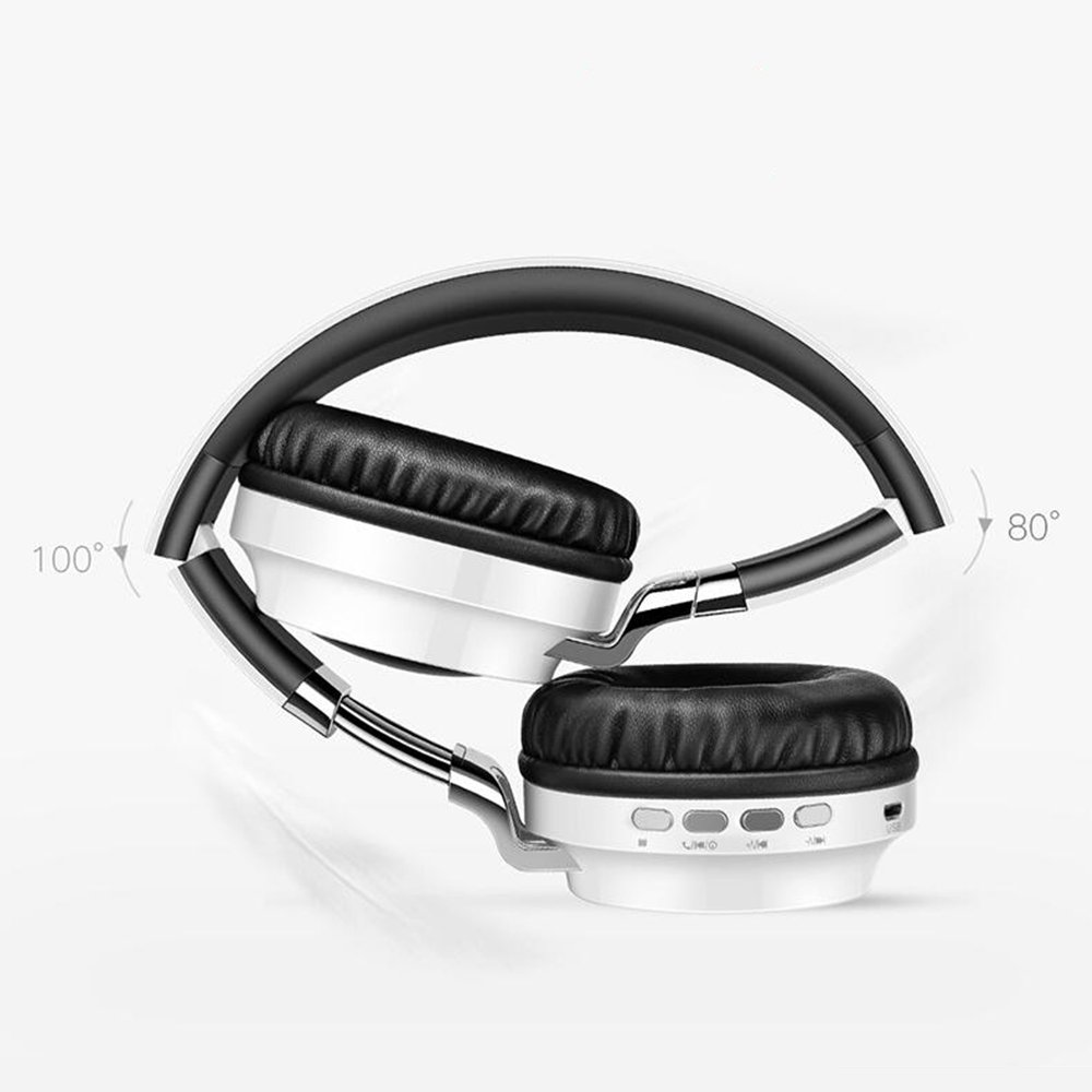 Bluetooth Headphones, Wireless Foldable Hi-Fi Stereo Headset with Noise Cancelling Microphone, Supports TF Card Hands-Free Calling and Wired Mode, For iPhone iPad apple Android Smart Phones PC (White)