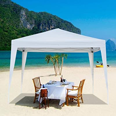 Camping Waterproof Folding Tent for Outdoor Party Wedding Exhibition Pavilion BBQ Beach Gazebo with 2 Doors 2 Windows and Carry Bag 118 x 118Inch, White : Garden & Outdoor
