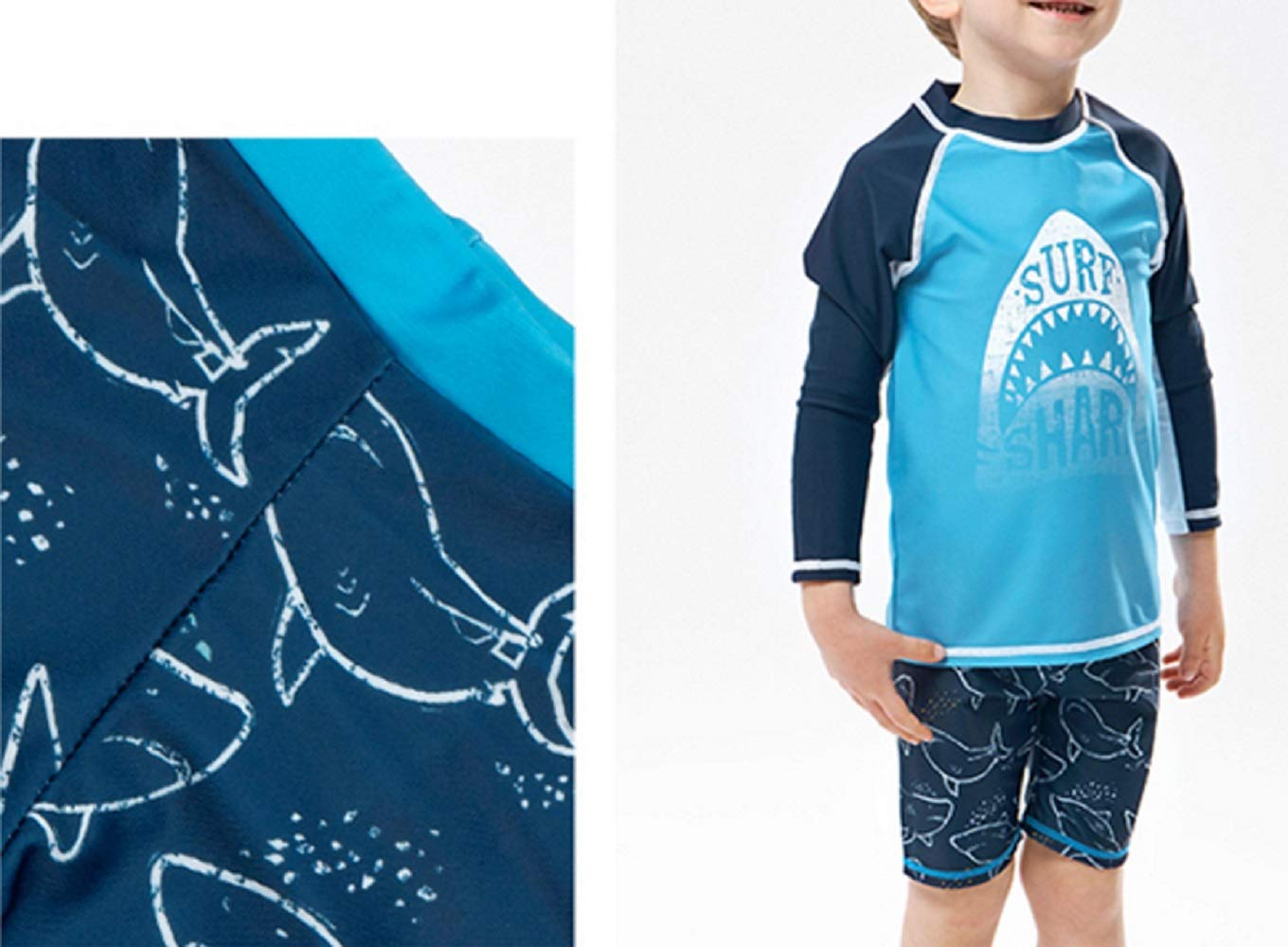 Pullic Kids Children Long Sleeve Split Swimsuits Kids Sunscreen Letter Printing Wetsuit for Water Sports(Blue) by Pullic (Image #3)