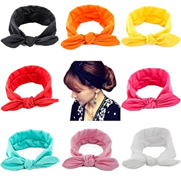 Top Selling Fashion Girl Lady Turban Knot Rabbit Headband Bow Cotton Hairbands