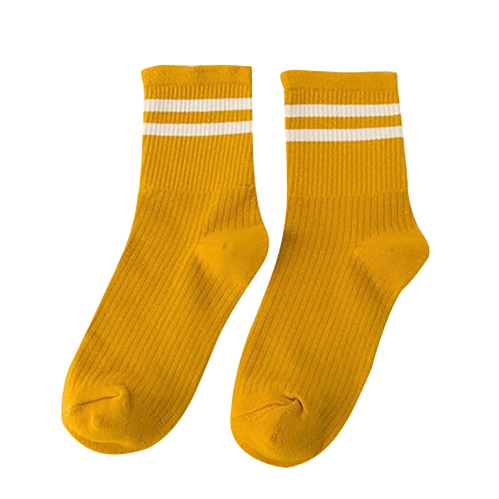 Womens Stripe Casual Cotton Crew Socks Vintage College Style Stretchy Novelty Ankle Socks MultiColor (M, Yellow)