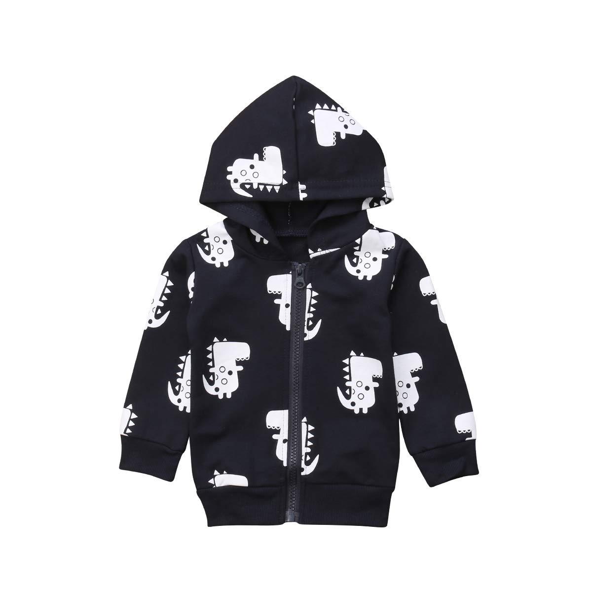 CIPOPO Unisex Boys and Girls Cute Cartoon Dinosaur Printed Tops Coat Zipper Closure Kids Hoodies Jacket Sweatshirt
