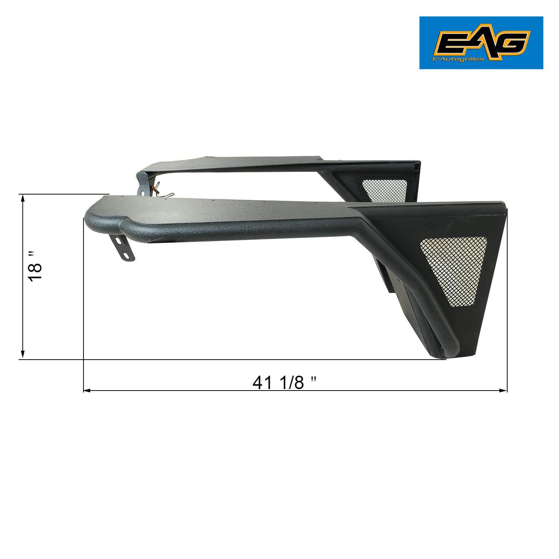 EAG Black Front Steel Fender with Flare Mesh Insert Fit for 97-06 Jeep Wrangler TJ