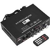 Zerone Amplificador HI-FI Amplifier Bluetooth MP3Amplificador HI-FI Estéreo Radio FM USB/Tarjeta TF/AUX Audio HiFi Amplificador con Mando a Distancia