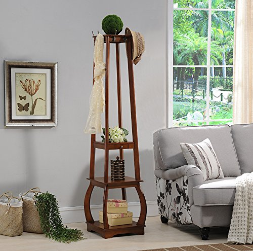 Kings Brand Furniture Entryway Coat Rack with Storage Shelves & Drawer, Walnut