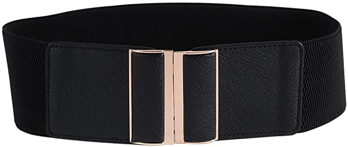 30mm Wide Women\u2019s Black Strechable Waist Belt Rose Gold Shiny Metal Prong Buckle Elastic Band Cinch Trimmer For Fashion Accessory
