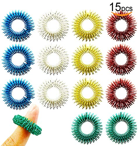 V-story 1 15 Pack Spiky Sensory Finger Acupressure Massage Rings Fidget Toys for Kids Teens Adults, 5 Bright Colors