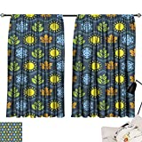 Hariiuet Blackout Draperies for Bedroom Seamless Wallpaper Pattern with Seasons Icons 72'x96',Room Darkening Thermal Insulated