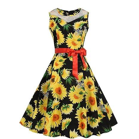 Lonshell Mujer Vestidos Retro Estampado Floral Sin Mangas Cuello Redondo Ahuecar Fiesta Nocturna Fiesta de Baile Swing Plisado Vestido con Cinturón: ...