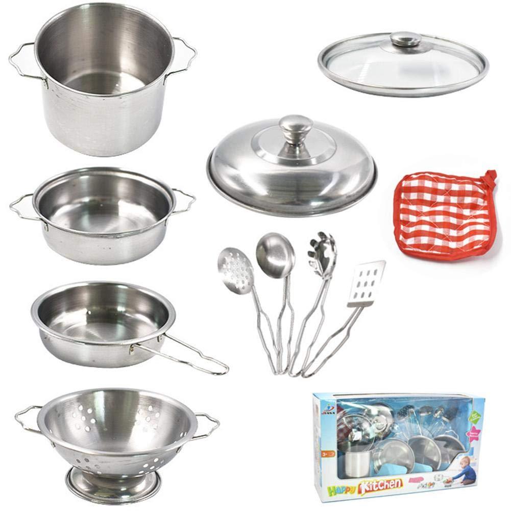 Luerme Utensilios de cocina Juguetes de acero inoxidable Ollas y sartenes Juego de cocina Juego de cocina Juego de utensilios de cocina para niños
