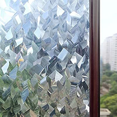 Rabbitgoo 3D Crystal Icicles Effect No Glue Static Cling Privacy Glass Window Films 2.95ft By 6.5ft (35.4In. by 78.7In.) by GLOBEGOU CO.,LTD
