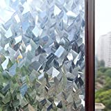 Rabbitgoo® 3D Crystal Icicles Effect No Glue Static Cling Privacy Glass Window Films 35.4in. By 78.7in. (90cm By 200cm)