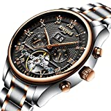 KINYUED Auto Date Mechanical Watch Men Automatic Skeleton Dial Black Waterproof Gold Stainless Steel Band