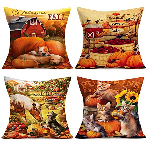 Doitely Welcome Fall Pumpkins Apples Cider Throw Pillow Covers Cotton Linen Dog Bird Horse Cat Pattern Pillow Cases Autumn Quote Maple Leaves Sunflower Halloween Thanksgiving Decor 18