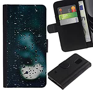 Billetera de Cuero Caso Titular de la tarjeta Carcasa Funda para Samsung Galaxy S5 V SM-G900 / Light Sad Dark Reflection / STRONG