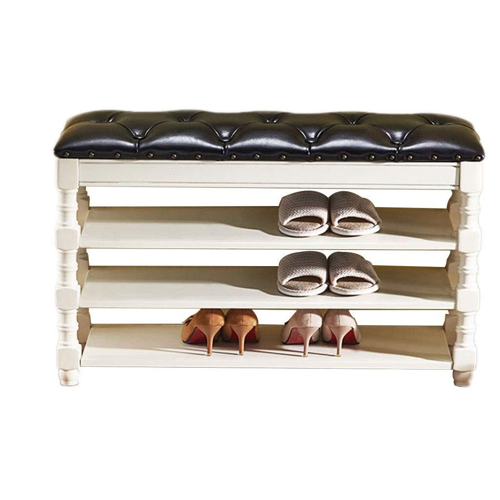 LAOSUNJIA Holz Aufbewahrungsbank 3-Tier mit Speicherschicht Flur Lagerung Regal Schlafzimmer Schrank Schuhbank-Sitz-Speicher-Organisatoren for Entryway Wohnzimmer (Color : Black, Size : 100cm)
