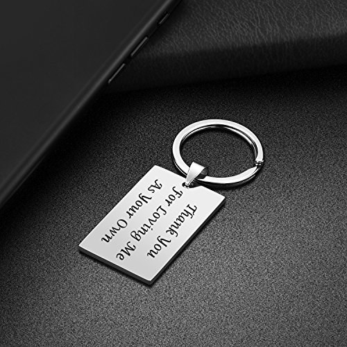 Step Father Dad Keychain Gifts - Dad Gift idea for Fathers Day from Wife Daughter Son Kids, Stainless Steel Jewelry Birthday Gifts for Men Husband Christmas Valentines Gifts (Step Father)