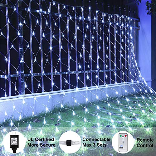 Ollny LED Net Mesh Fairy String Decorative Lights 200 LEDs 9.8ft x 6.6ft Tree-wrap Lights with Remote for Christmas Outdoor Wedding Garden Decorations White