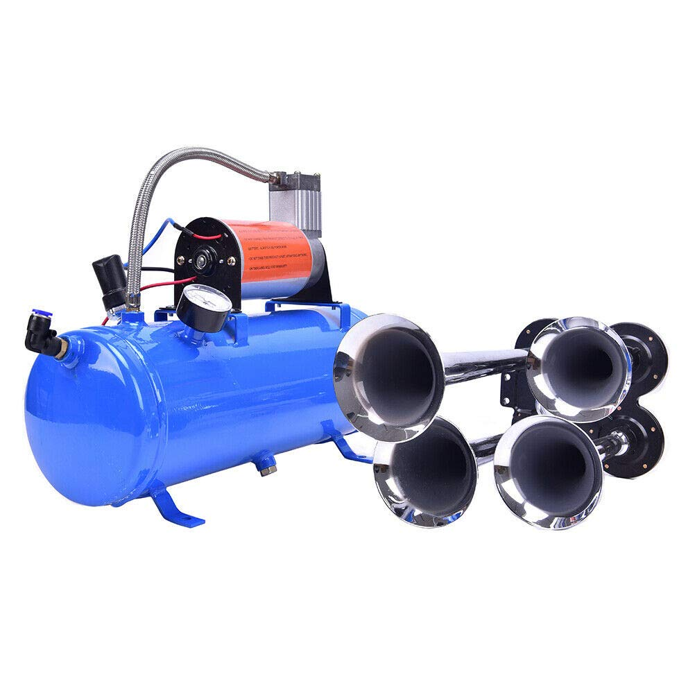 KEANTY 4-Trumpet 150 psi Air System 150dB Blue, 6 L Metal 12V Train Air Horn Kit for car Truck