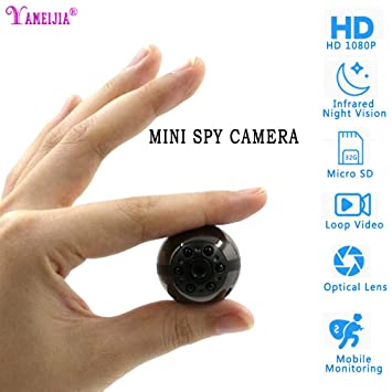 YAMEIJIA Mini cámara Oculta, Full HD 1080p Mini 360 ° DV Deporte IR Night Vision DVR de vídeo Oculta espía ...