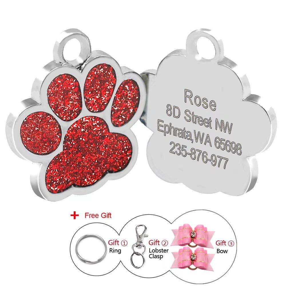 Médaille d'identification Berry personnalisable pour chiens et chats en forme de patte, 24mm, en acier inoxydable 24mm BerryPet