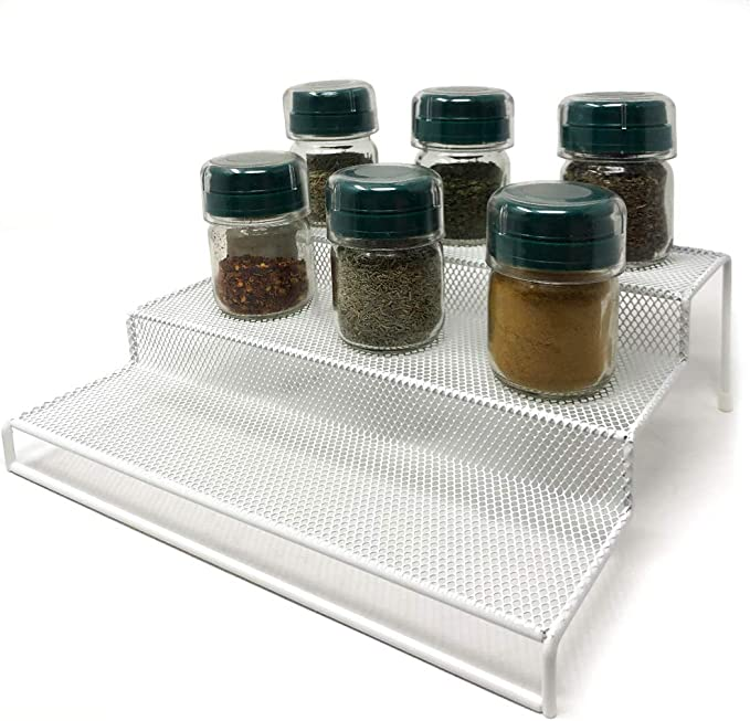 Rejilla Blanca Especiero Estante para Especias Space Home Organizador de Condimentos o Salsas 3 Niveles