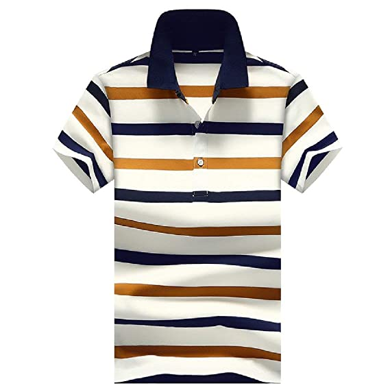 Zimaes-Men Polo Wide Stripe Short Sleeves Lapel Shirt Top T-Shirt