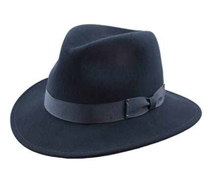 db500cd0a8243a Bailey of Hollywood Curtis Wool Felt Fedora Hat Packable Water Repellent  Size S Blue-nv411