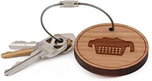 Laundry Basket Keychain, Wood Twist Cable Keychain - Small