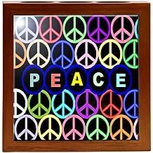 Rikki Knight RK-PH1518 Multi Colored Peace Logos Design 5-Inch Wooden Tile Pen Holder (RK-PH1518)