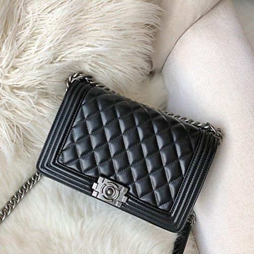 Flip ZHANGJIA Petit chaînes black Le la Vent l'épaule 25cm Sac Diamond Sac marée à chaînes Sac la Mode cazPcR8