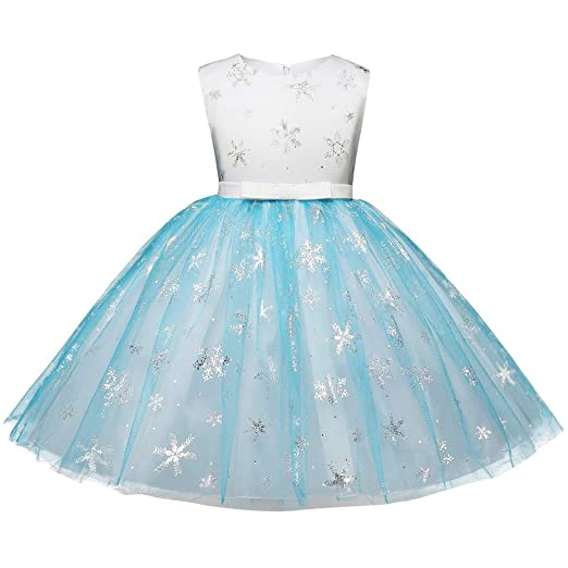 SUNBIBE🎅Kid Baby Girl Dress,Children Bling Snowflake Print Sleeveless Splice Tutu Bow Party