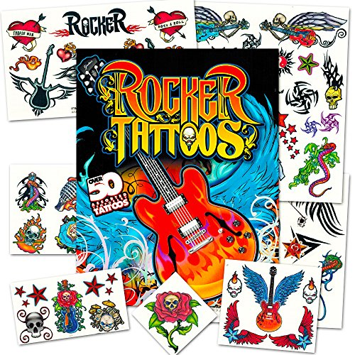 [Rock Star Temporary Tattoos Party Favor Set (50 Rocker Tattoos)] (Rock And Roll Costume For Kids)